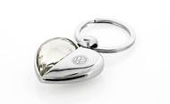 Volkswagen Logo Half Crystal & Half Metal Heart Shape Key Chain