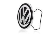 Volkswagen Logo Chrome Belt Buckle With Black Epoxy Paint Fill