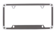 Grey Carbon Fiber Vinyl Inlay License Plate Frame Embellished With Swarovski® Crystals