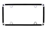 Satin Metallic Black Vinyl Inlay Thin Rim License Plate Frame Embellished With Swarovski® Crystals