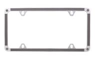 Grey Carbon Fiber Vinyl Inlay Thin Rim License Plate Frame Embellished With Swarovski® Crystals