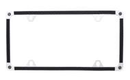 Black Carbon Fiber Vinyl Inlay Thin Rim License Plate Frame Embellished With Swarovski® Crystals