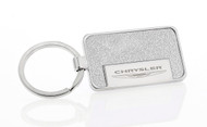 Satin Metallic Silver Textured Vinyl Inlay Keychain with Laser Engraved Chrysler Imprint