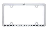 Harley-Davidson® Dark Gray Wordmark and Bar & Shield Engraved Satin Chrome License Plate Frame (HDLFT396)