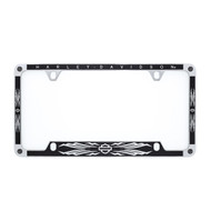 Harley-Davidson® Chrome License Plate Frame With Glitter Satin Black Vinyl Inlays and 4 SWAROVSKI® Crystals (HDLFYBK397)