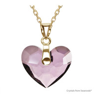 Antique Pink Truly In Love Heart Necklace Embellished with Swarovski Crystals (NE2G-001ANTP)
