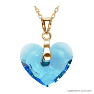Aquamarine Truly In Love Heart Necklace Embellished with Swarovski Crystals (NE2G-202)