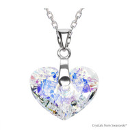 Crystal Aurore Boreale Truly In Love Heart Necklace Embellished with Swarovski Crystals (NE2R-001AB)