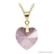 Antique Pink Xilion Heart Necklace Embellished with Swarovski Crystals (NE3G-001ANTP)