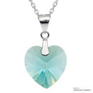Light Turquoise Xilion Heart Necklace Embellished with Swarovski Crystals (NE3R-263AB)