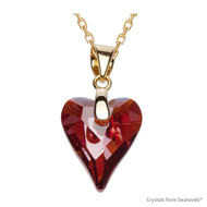 Crystal Red Magma Wild Heart Necklace Embellished with Swarovski Crystals (NE4G-001REDM)