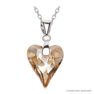 Crystal Golden Shadow Wild Heart Necklace Embellished with Swarovski Crystals (NE4R-001GSHA)