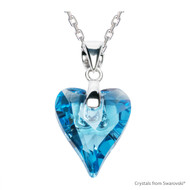 Aquamarine Wild Heart Necklace Embellished with Swarovski Crystals (NE4R-202)