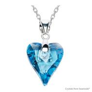 Aquamarine Wild Heart Necklace Embellished with Swarovski Crystals (NE4R-202)
