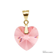 Rose Peach Xilion Heart Pendant Embellished with Swarovski Crystals (PE3G-262)