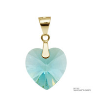 Light Turquoise Xilion Heart Pendant Embellished with Swarovski Crystals (PE3G-263)