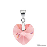 Rose Peach Xilion Heart Pendant Embellished with Swarovski Crystals (PE3R-262)