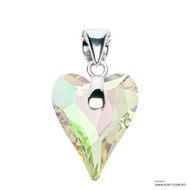 Crystal Luminous Green F Wild Heart Pendant Embellished with Swarovski Crystals (PE4R-001LUMG)