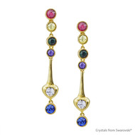 Golden Spring Earrings Embellished with Swarovski Crystals