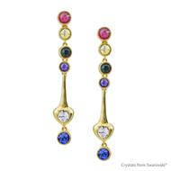 Golden Spring Earrings Embellished with Swarovski Crystals