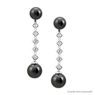 Interchangeable Timeless Black Pearl Earrings Embellished with Swarovski Crystals