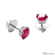 1 Carat Red Round Stud Earring Made with Swarovski Zirconia