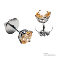 1 CARAT AMBER SOLITAIRE EARRING MADE WITH SWAROVSKI ZIRCONIA (EZ1-29725)