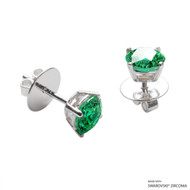 1 Carat Fancy Green Round Stud Earring Made with Swarovski Zirconia