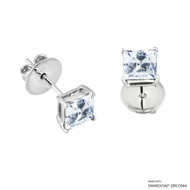 1 Carat White Princess Stud Earring Made with Swarovski Zirconia