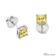 1 Carat Fancy Yellow Princess Stud Earring Made with Swarovski Zirconia