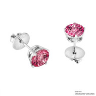 2 Carat Red Round Stud Earring Made with Swarovski Zirconia