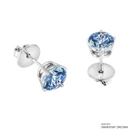 2 Carat Fancy Blue Round Stud Earring Made with Swarovski Zirconia