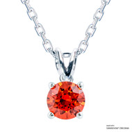 1 Carat Orange Solitaire Necklace Made with Swarovski Zirconia