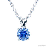 1 Carat Fancy Blue Solitaire Necklace Made with Swarovski Zirconia