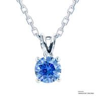 1 Carat Fancy Blue Solitaire Necklace Made with Swarovski Zirconia