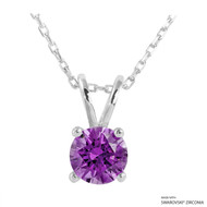 1 Carat Fancy Purple Round Necklace Made with Swarovski Zirconia