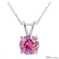 2 Carat Fancy Pink Round Necklace Made with Swarovski Zirconia