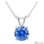 2 Carat Fancy Blue Round Necklace Made with Swarovski Zirconia