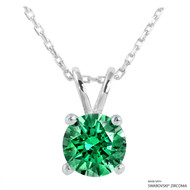 2 Carat Fancy Green Round Necklace Made with Swarovski Zirconia