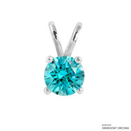 1 Carat Mint Round Pendant Made with Swarovski Zirconia