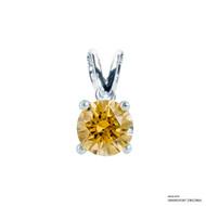 1 Carat Amber Solitaire Pendant Made with Swarovski Zirconia