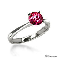 Classic 1 Carat Red Solitaire Ring Made with Swarovski Zirconia