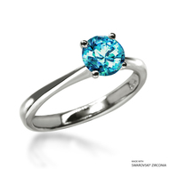 Classic 1 Carat Mint Solitaire Ring Made with Swarovski Zirconia