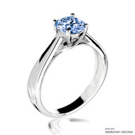 Classy 1 Carat Fancy Blue Solitaire Ring Made with Swarovski Zirconia