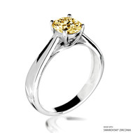 Classy 1 Carat Fancy Yellow Solitaire Ring Made with Swarovski Zirconia