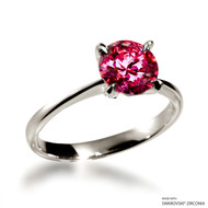 CLASSIC 2 CARAT RED SOLITAIRE RING MADE WITH SWAROVSKI ZIRCONIA (RZ2V-29480)