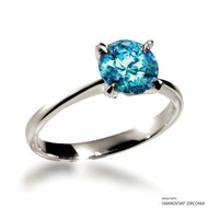 Classic 2 Carat Mint Solitaire Ring Made with Swarovski Zirconia