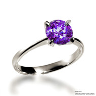 Classic 2 Carat Fancy Purple Solitaire Ring Made with Swarovski Zirconia