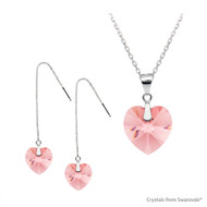 Rose Peach Xilion Heart Set Embellished with Swarovski Crystals