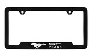 Mustang 50th Anniversary-50 Years with Single Pony-Bottom Engraved Black Coated Solid Brass License Plate Frame with Clear Epoxy